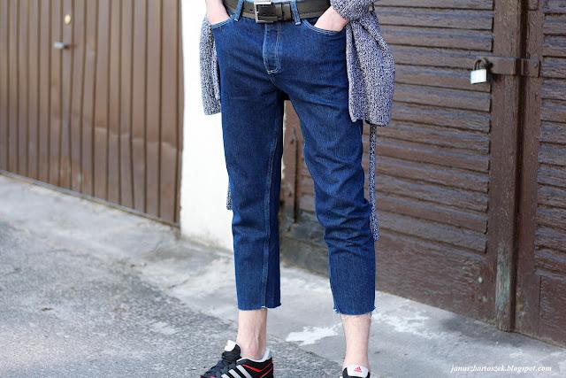 jeansy 3/4 bez wykończonych nogawek