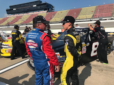 Joe Nemechek hangs out with son John Hunter Nemechek at the track