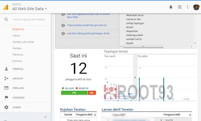 halaman dasbor untuk melihat waktu real time kunjungan website