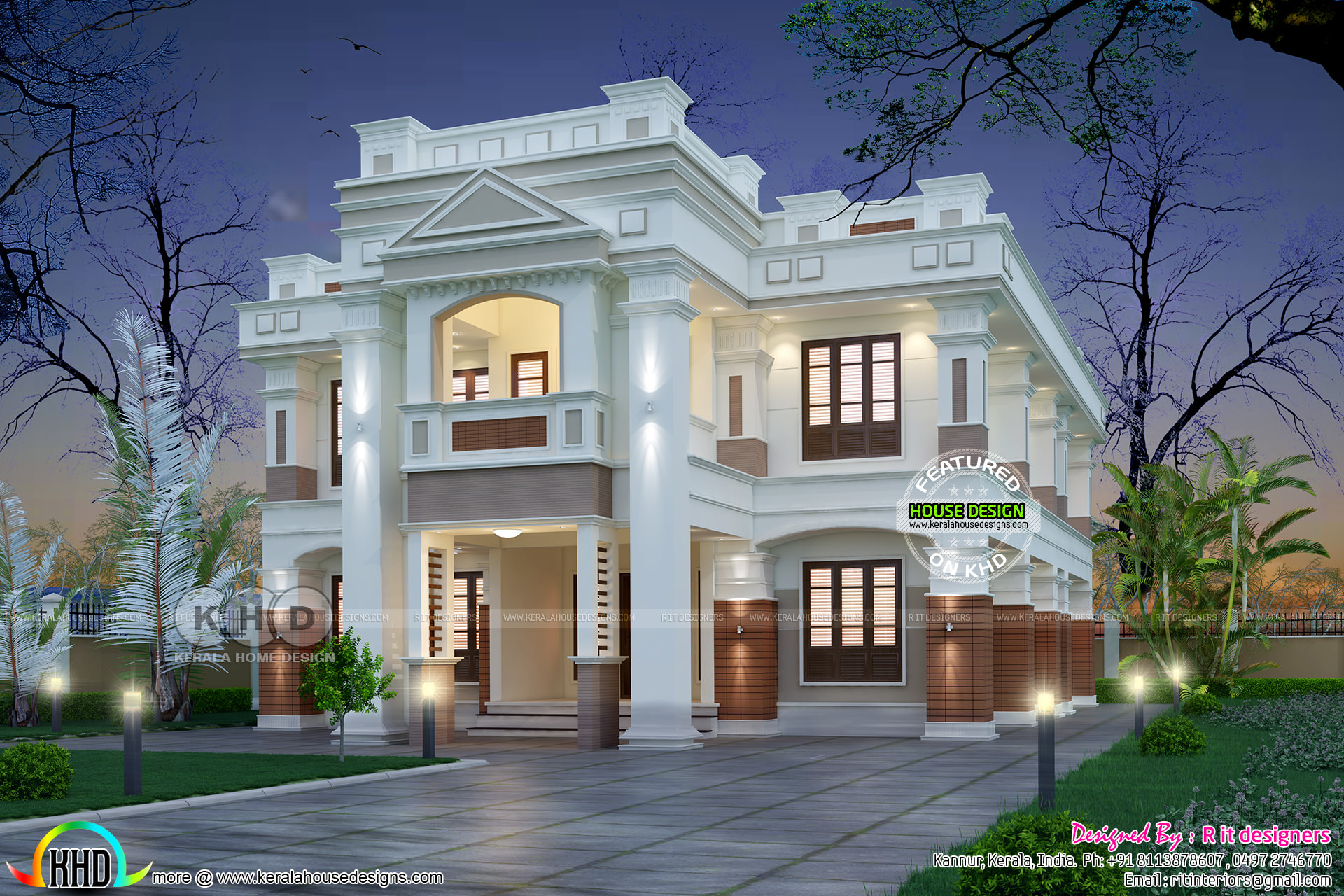 Modern Colonial Type Home Plan With 4 Bedrooms Kerala Home Design And Floor Plans 8000 Houses