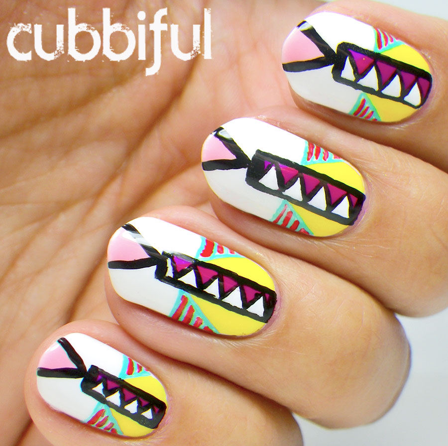 Multicolour Summer Tribal Nails