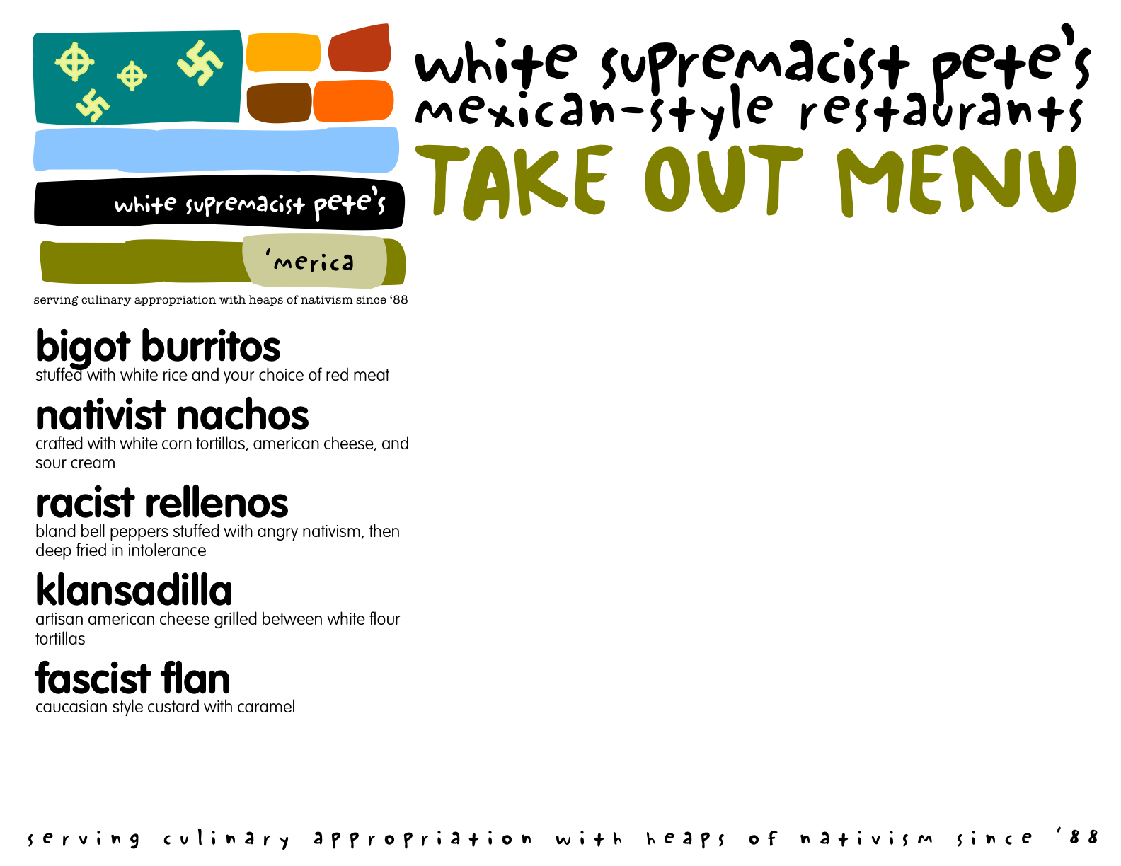 Suggest menu items for racist restaurant owner Pete!