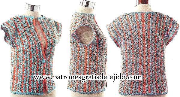 chaleco crochet visto de frente, de costado y de espalda