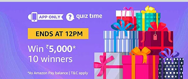 Image result for Amazon Quiz Win Rs.5000 Pay balance