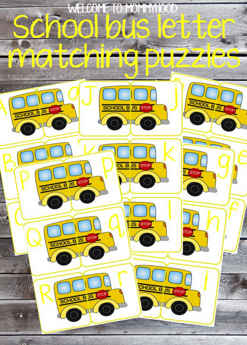 Free School Bus Letter Matching Printables by Welcome to Mommyhood #letterrecognition, #homeschool, #preschool, #preschoolactivities, #alphabetactivities