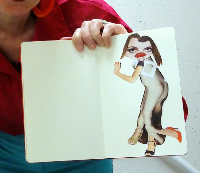 Mel Kobayashi, journal collage, Bag and a Beret