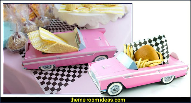 Classic Car Party Food Boxes   50s party ideas - 50s party decorations - 1950s Theme Party - 1950's Rock and  Roll Themed Party Supplies - 50s Rock and Roll Theme Party - 50s party decorations - 50s party props - 50s diner party