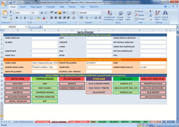 Aplikasi Administrasi Guru Mata Pelajaran - Form Administrasi Guru Format Microsoft Excel