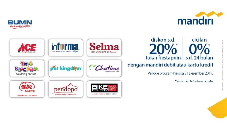 #BankMandiri - Promo Diskon 20% Pakai Fiestapon di Group Kawan Lama