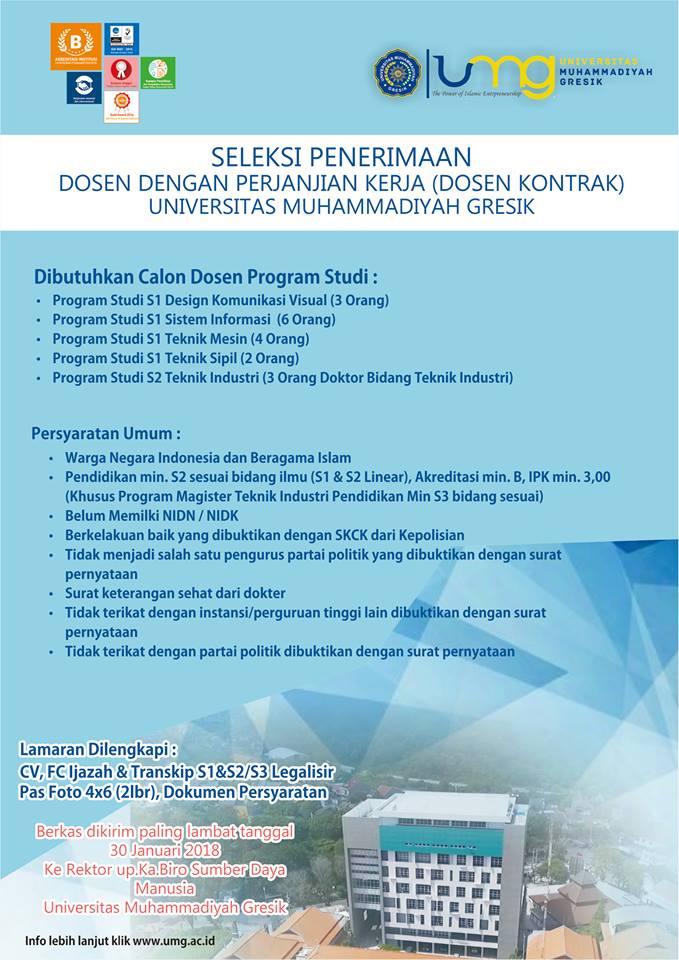 LOWONGAN DOSEN FAKULTAS TEKNIK Universitas Muhammadiyah Gresik (UMG)  TERBARU