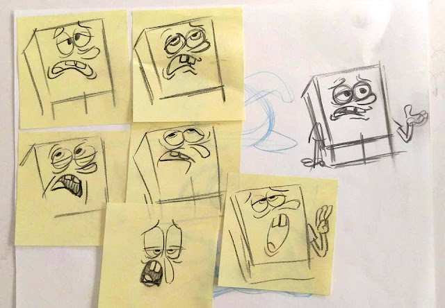 SpongeBob expression sketches by Sherm Cohen