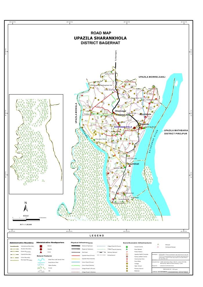 Sarankhola Upazila Road Map Bagerhat District Bangladesh