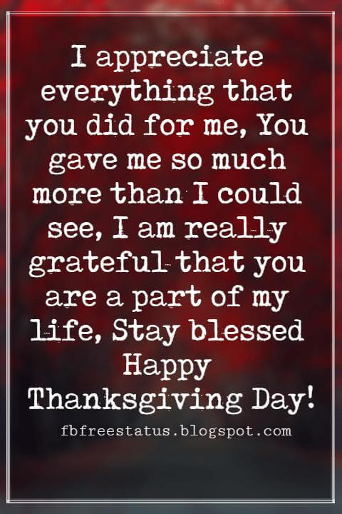 Thanksgiving Messages For Cards, I appreciate everything that you did for me, You gave me so much more than I could see, I am really grateful that you are a part of my life, Stay blessed Happy Thanksgiving Day!