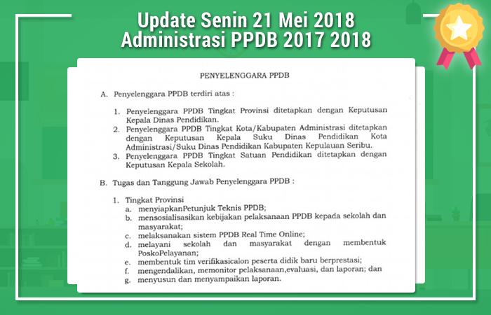 Update Senin 21 Mei 2018 Administrasi PPDB 2017 2018