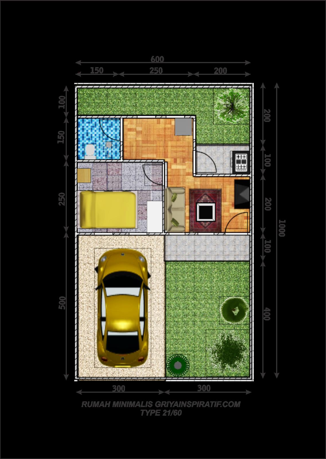 Denah Rumah Type 21 1 Lantai : denah, rumah, lantai, Denah, Rumah, Minimalis, 21/60, Griya, Inspiratif
