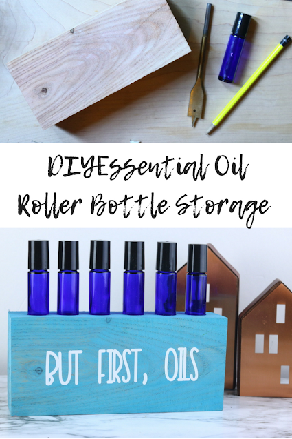 How to make a DIY roller bottle storage block. Get ideas for making an upcycled and easy essenital oil storage for your roller ball or roller bottles.  Use a block of wood to make  essential oil storage that is also a cute home decor piece.  This helps organize your roller balls so you can find them easier. #essentialoil #storage #diy #rollerball #rollerbottle