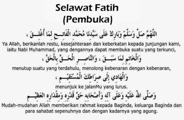 Teks bacaan shalawat al fatih dan artinya