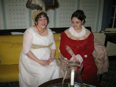 1790's cotton gown and 1815 velvet dress