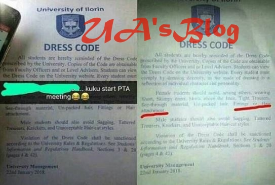 Outrage As University Of Ilorin Reportedly Bans Hair Attachments, Tight Pants For Females