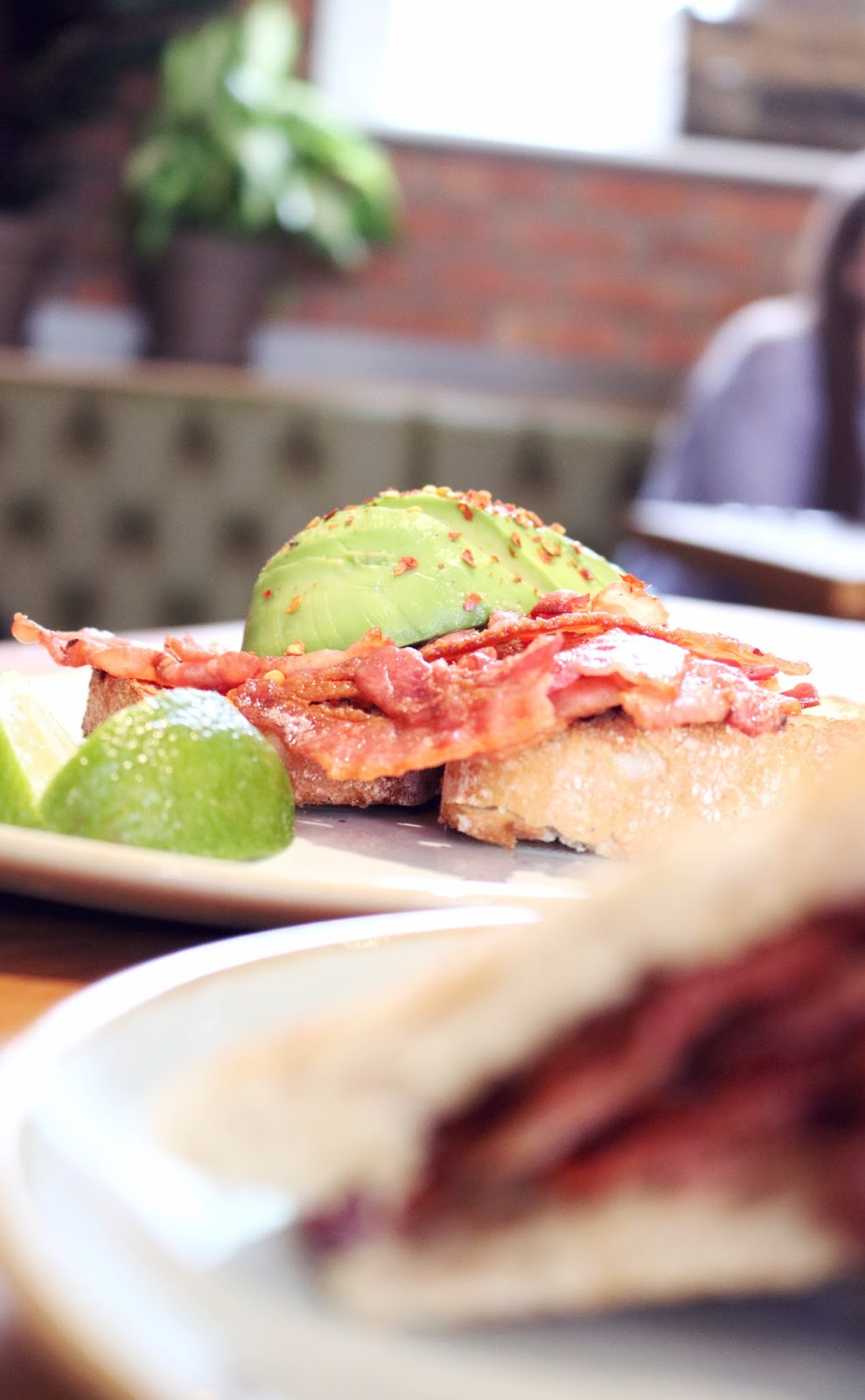 Avocado and Bacon on Toast at Olive and Bean, Newcastle.