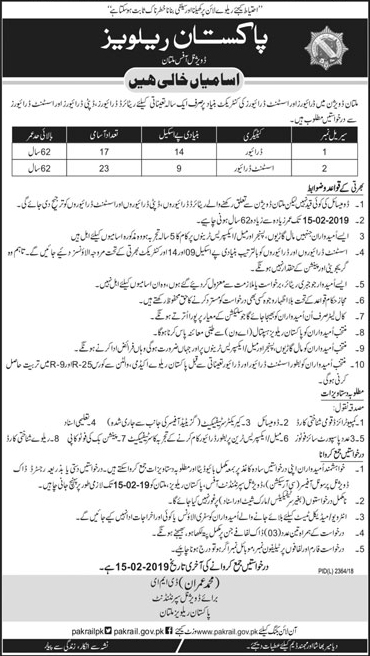 Pakistan Railways Multan Division Latest Jobs 2019