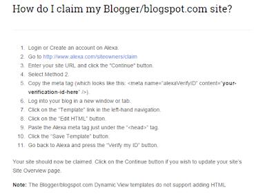 cara verifikasi website atau blog di alexa untuk pengguna blogspot