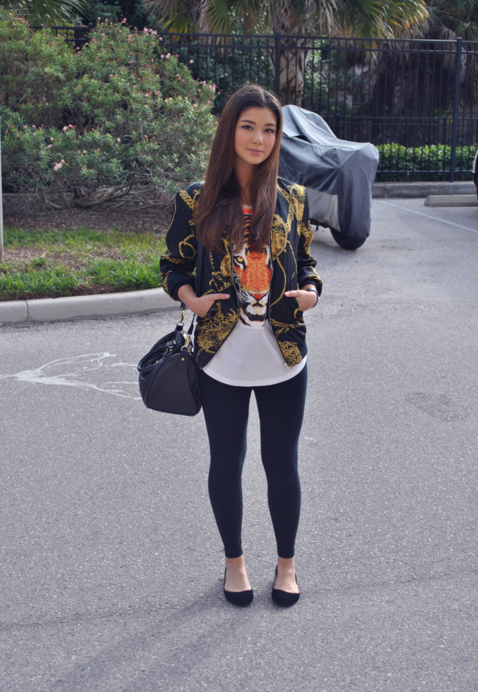 Chain print coat, Varsity Jacket with Chain Print, scarf print,  front row shop, shop front row, H&M, Old Navy Leggings, Steve Madden Bag, Front Row