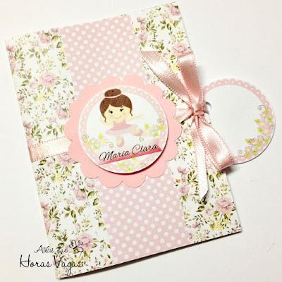 convite aniversário artesanal infantil personalizado bailarina menina floral delicado provençal 3d