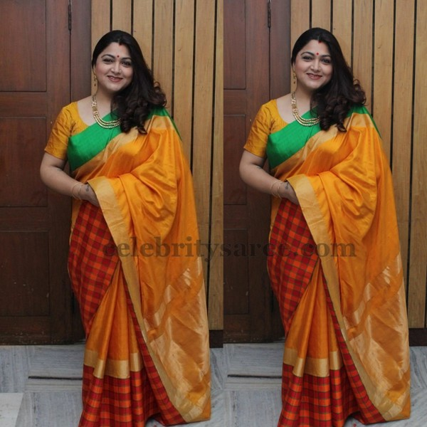 Kushboo in Red and Yellow Stripes Sari