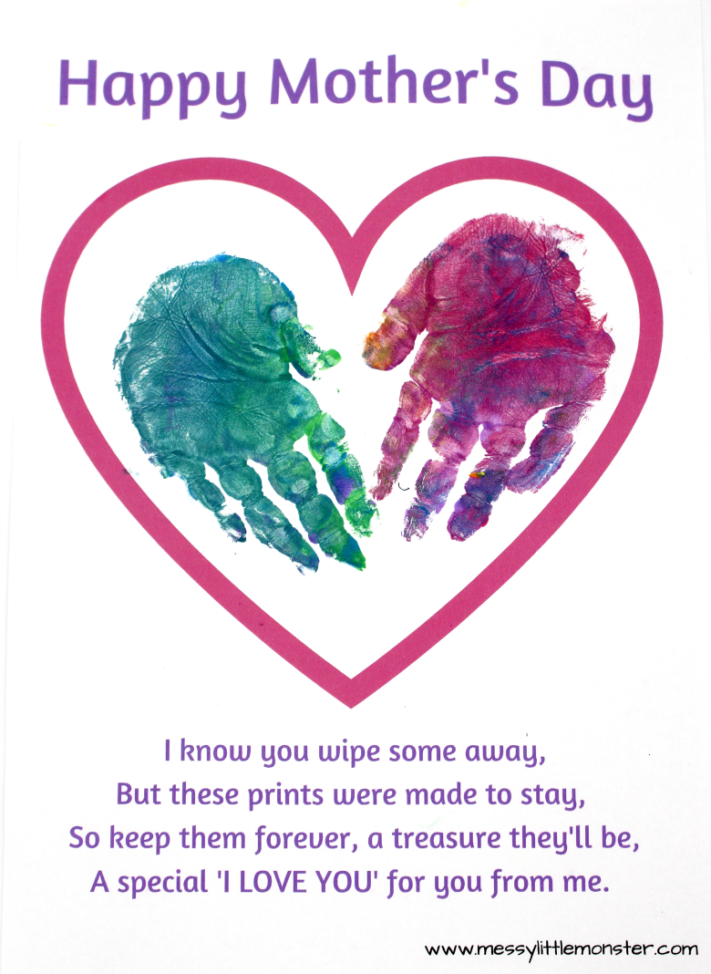Printable Mothers day card keepsake craft for kids - handprint mother's day poem