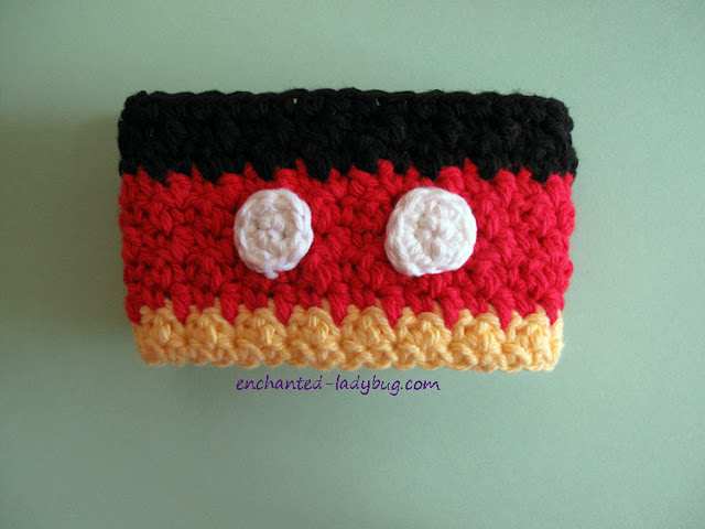 Free Crochet Mickey Mouse Coffee Cup Cozy Pattern