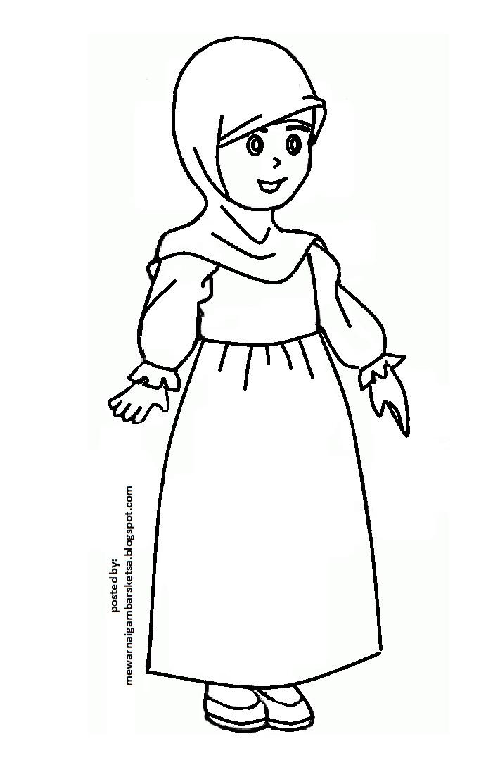 Mewarnai Gambar Mewarnai Gambar Sketsa Kartun Anak Muslimah 30