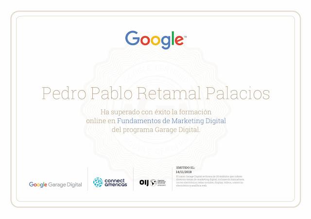 Certificado Garage Digital Pedro Pablo Retamal