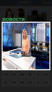 в студии программы новости сидит диктор перед экраном