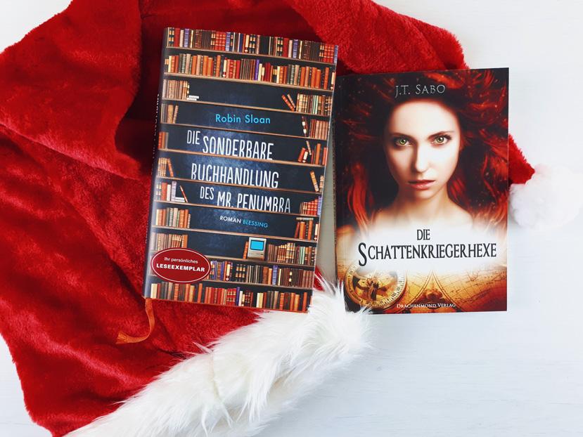 Diese Bücher werden während der Winterpause von Literaturpost gelesen: Die Schattenkriegerhexe und Die sonderbare Buchhandlung des Mr. Penumbra.