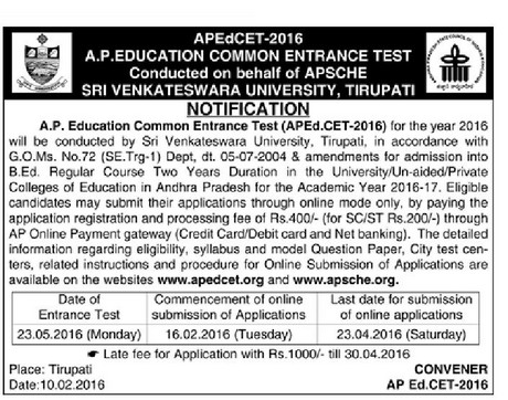 APEdcet 2016 Online Appllication Form AP Edcet Notification