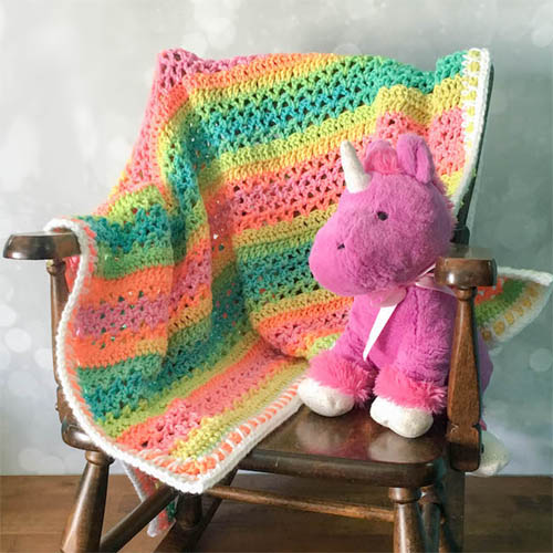 Unicorn Stripes Baby Blanket - Free Pattern