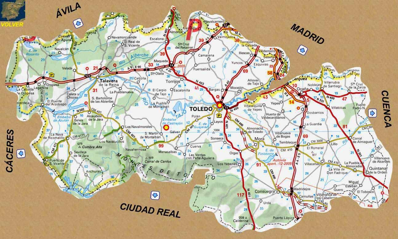 Mapa Provincia Toledo Carreteras.Mapa Mapa Provincia De Toledo Pueblos