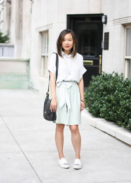 Modern Vintage Style Outfit with Everlane Shirt and Polka Dot Shorts