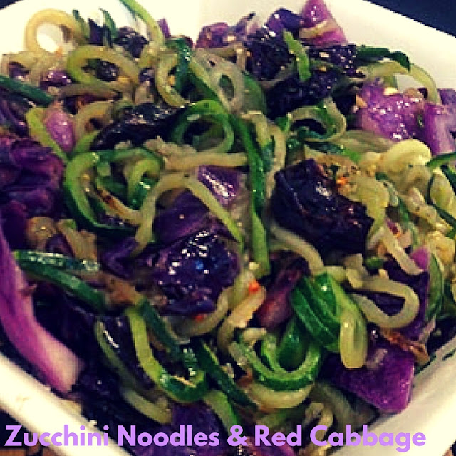 zucchini spirals and red cabbage