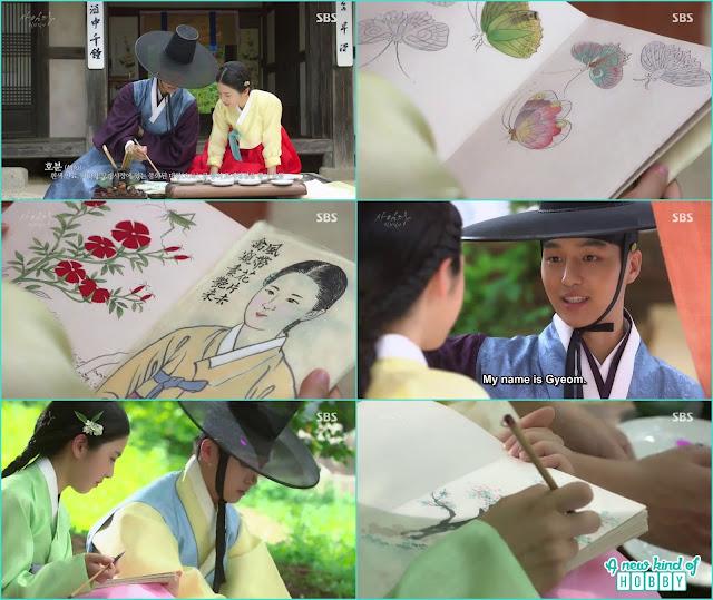 lee gyeom help making color for saimdang painting - Romantic Moments & Kisses of Lady Shin & lee Gyeom - Saimdang, Light's Diary
