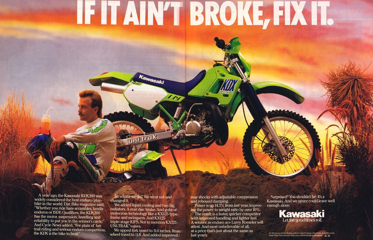 Racing Caf U00e8  Vintage Brochures  Kawasaki Kdx 200 1989  Usa