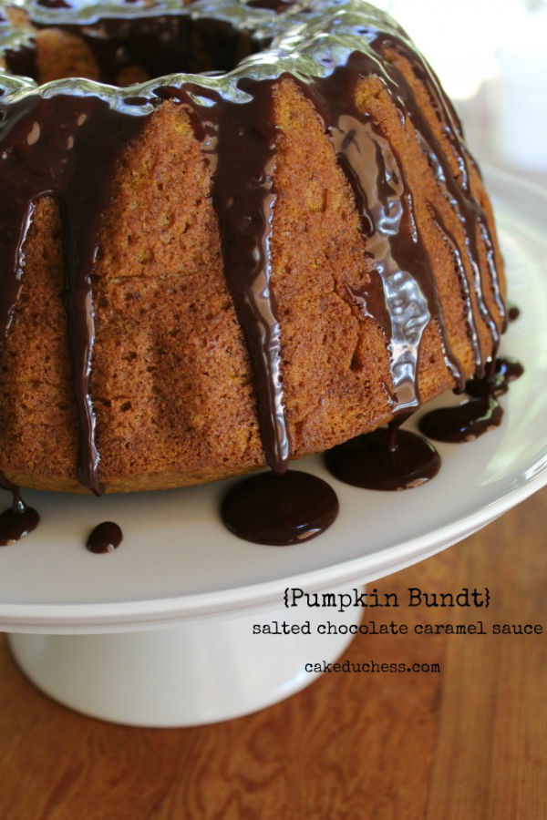 Pumpkin Bundt Cake with Salted Chocolate Caramel Sauce