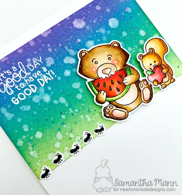 It's a Good Day to have a Good Day Card by Samantha Mann for Newton's Nook Designs, Distress Inks, Ink blending, Picnic, critters, watermelon, summer #distressink #inkblending #newtonsnook