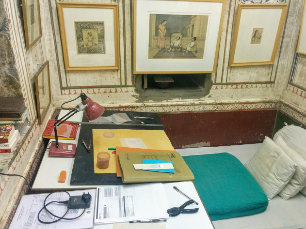 Workstation of a miniature artist, Rajasthan