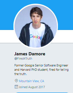 James Damore, recently fired google engineer joins Twitter with the handle @Fired4Truth.