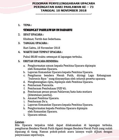 pedoman pelaksanaan peringatan Hari Pahlawan ke Pedoman Upacara Peringatan Hari Pahlawan ke-74 Tanggal 10 November 2020