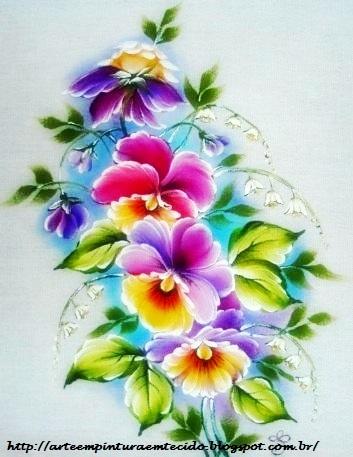 pintura em tecido amor perfeito pano de prato