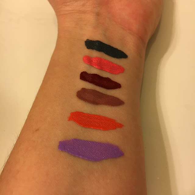NYX Cosmetics, NYX Cosmetics Liquid Suede Cream Lipstick Vault, lipgloss, lipstick, lipcolor, lip color, makeup, gift set, beauty giveaway, A Month of Beautiful Giveaways, swatches, Stone Fox, Life's A Beach, Cherry Skies, Soft-Spoken, Orange County, Sway