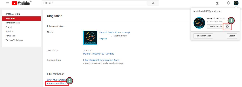 cara menambahkan saluran baru di youtube